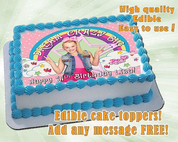 Jojo Siwa Inspired Cake Toppers Edible Print Sugar Sheet Decoration Birthday Party Supplies Pers