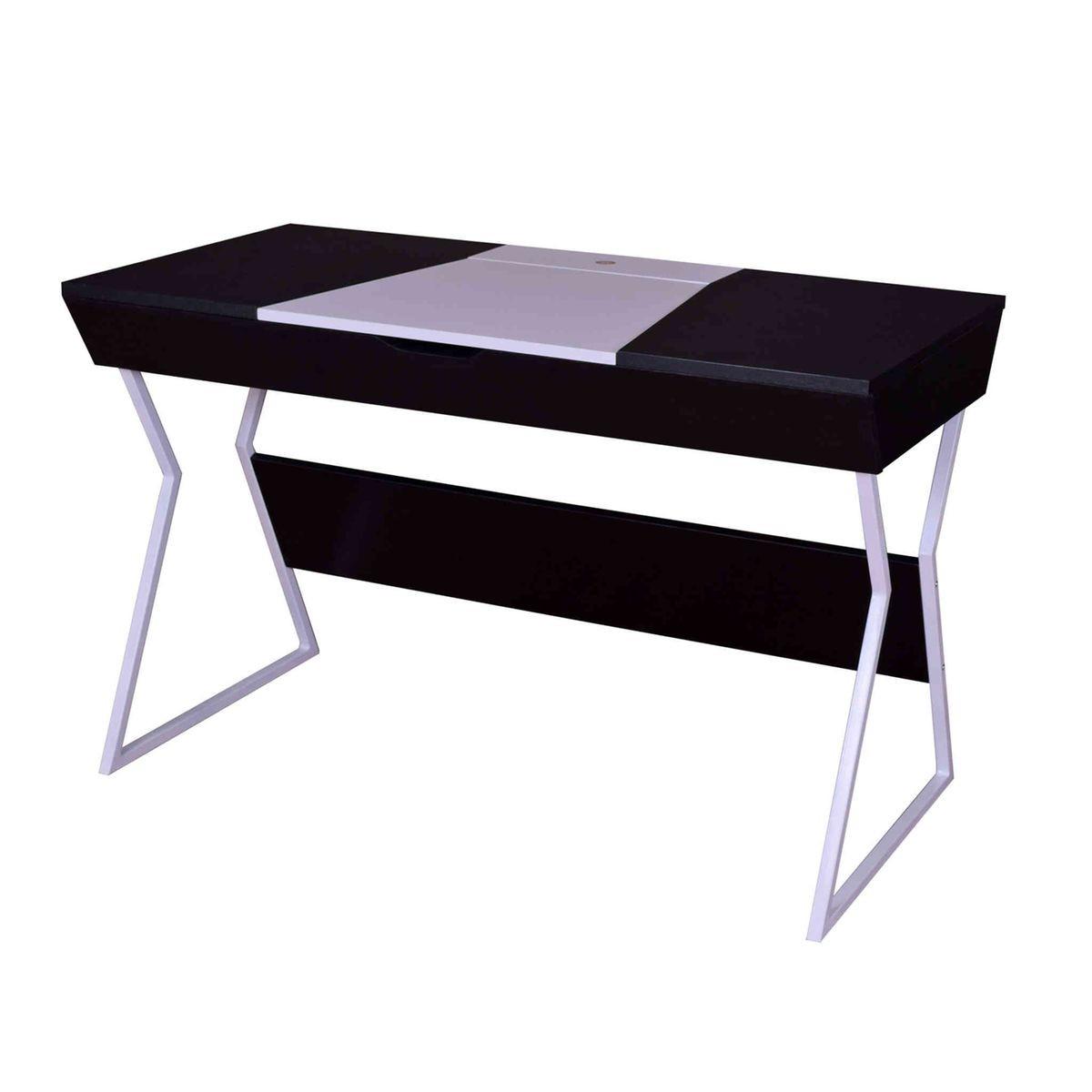 Bureau Noir Et Blanc bureau bois noir, blanc avec rangement bu4014 - taille : s