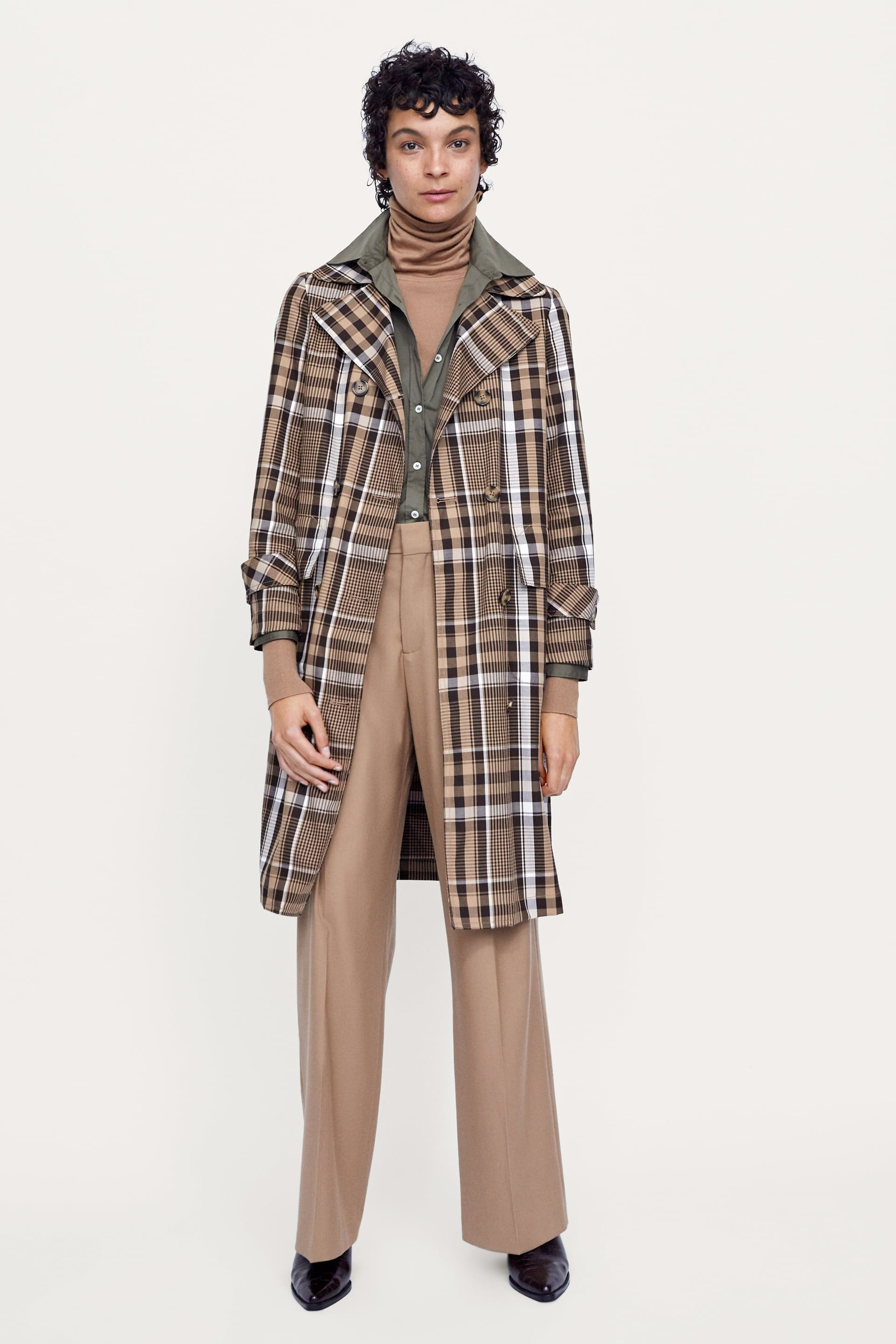 3bfe5064b07 Image 1 of PLAID DOUBLE-BREASTED TRENCH COAT from Zara