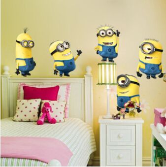 Art Decals MINIONS Removable Cartoon Wall Stickers DIY Child Wallpaper 3D House Decoration