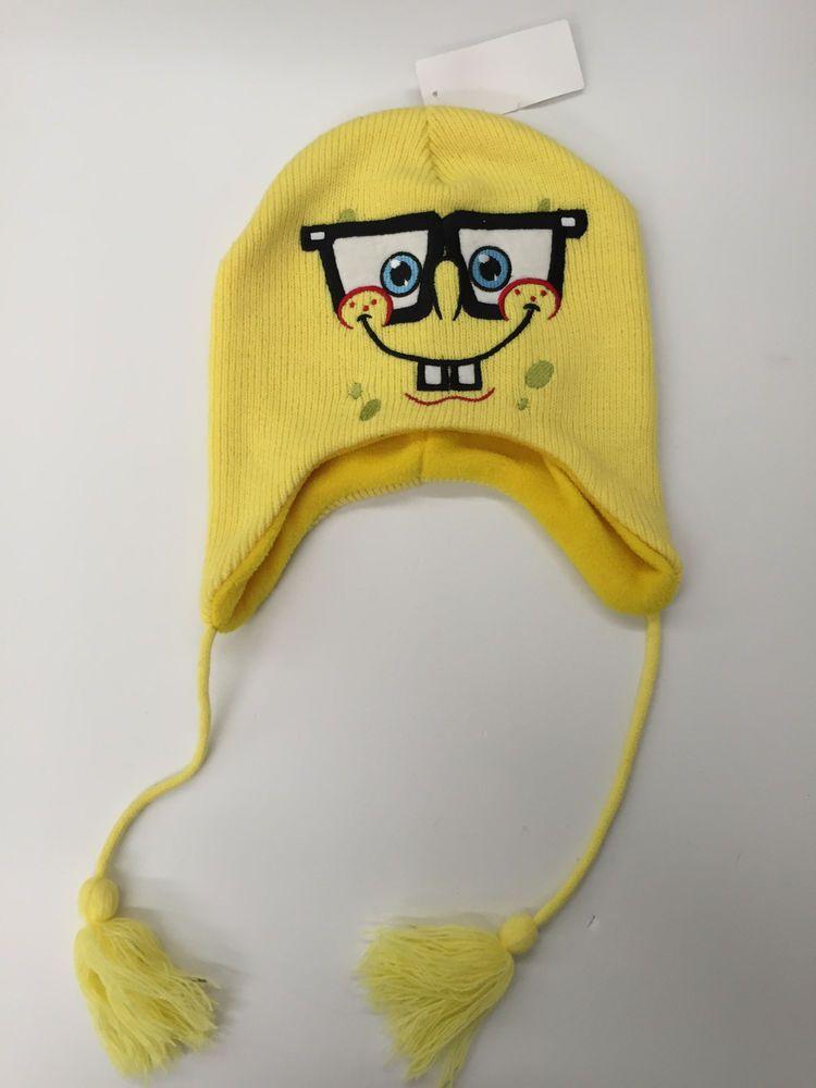 e5379a82136aa SpongeBob Square Pants Peruvian Laplander Knit Hat Viacom Yellow Ski Cap  New  ViacomInternationalInc  Laplander