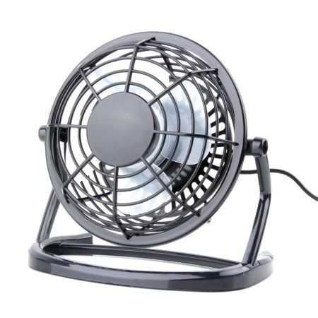 Mini Metal Table Fan Usb Quiet Desk Retro Design With On Off Switch Free Angle Rotation Personal For Work Home School Travel At