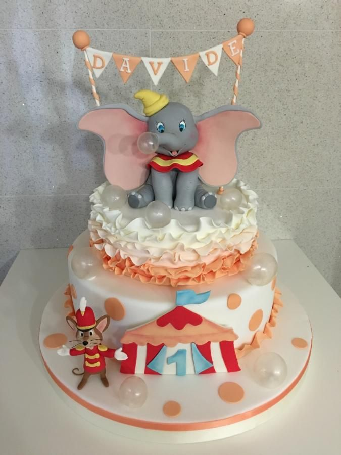 Stupendous Dumbo By Zuccheroviola With Images Dumbo Cake Disney Birthday Birthday Cards Printable Trancafe Filternl