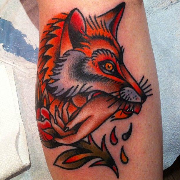 Traditional Black Fox Tattoo