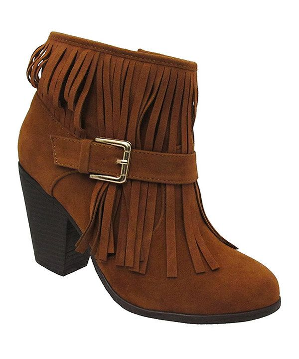 Look at this Yoki Rust Aniya Fringe Bootie on #zulily today!