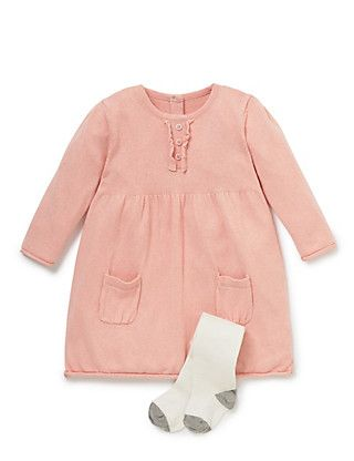 £14.40 2 Piece Ruffle Knitted Dress & Tights Outfit   M&S