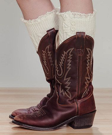 Ivory Lace Boot Cuffs by Young Fashionista #zulily #zulilyfinds