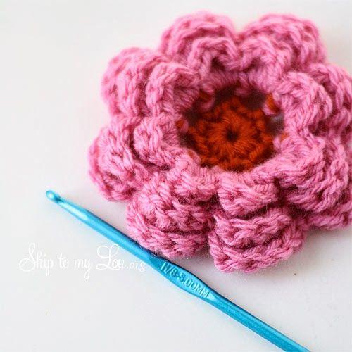 Free Tutorial For Pretty Crochet Flower Crochet Pinterest
