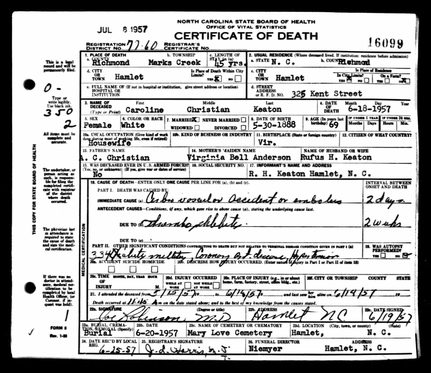 Caroline Christian Keaton Discovered In North Carolina Death