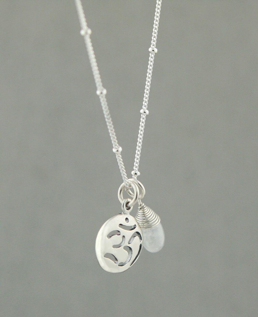 Sterling silver om necklace with moonstone om necklace moonstones sterling silver om necklace with moonstone aloadofball Images