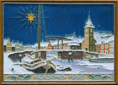 Kerstmis 1950, Delft, keramiek, tegel, Porceleyne Fles, Delft, Ontwerper :Tieman, H.J. 1938 - 1982