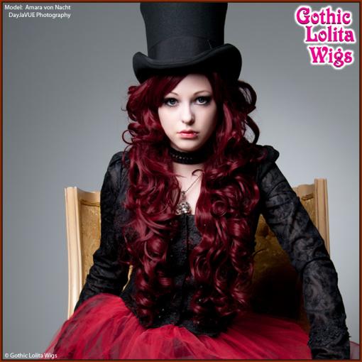 Gothic Lolita Wigs | Duchess Collection - Burgundy / Wine Red | Model: Amara von Nacht | DayJaVUE Photography
