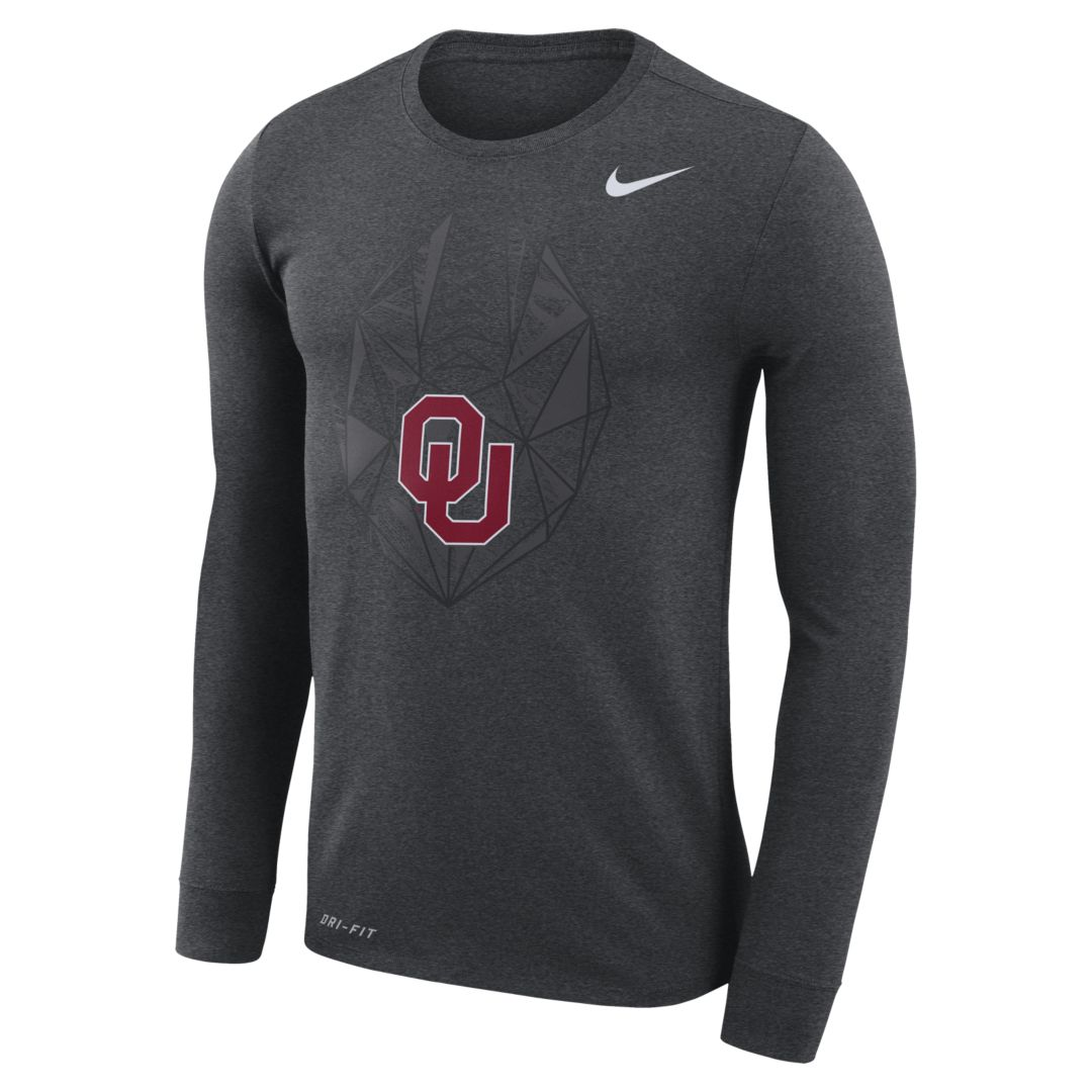 6cebc0458 Nike College Dri-FIT (Oklahoma) Men's Long-Sleeve Top Size 3XL (Charcoal  Heather)