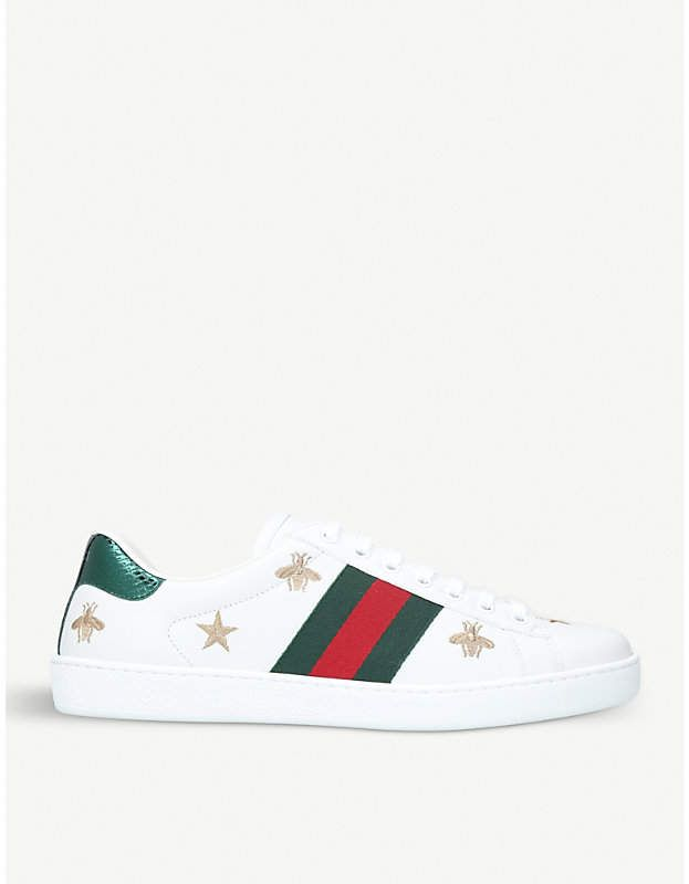 0045dcbd67c Gucci New Ace bee-embroidered leather trainers