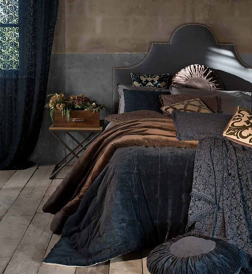 Boutis matrimoniale in velluto di cotone della Collezione Luxury Velvet di Blanc Mariclò.