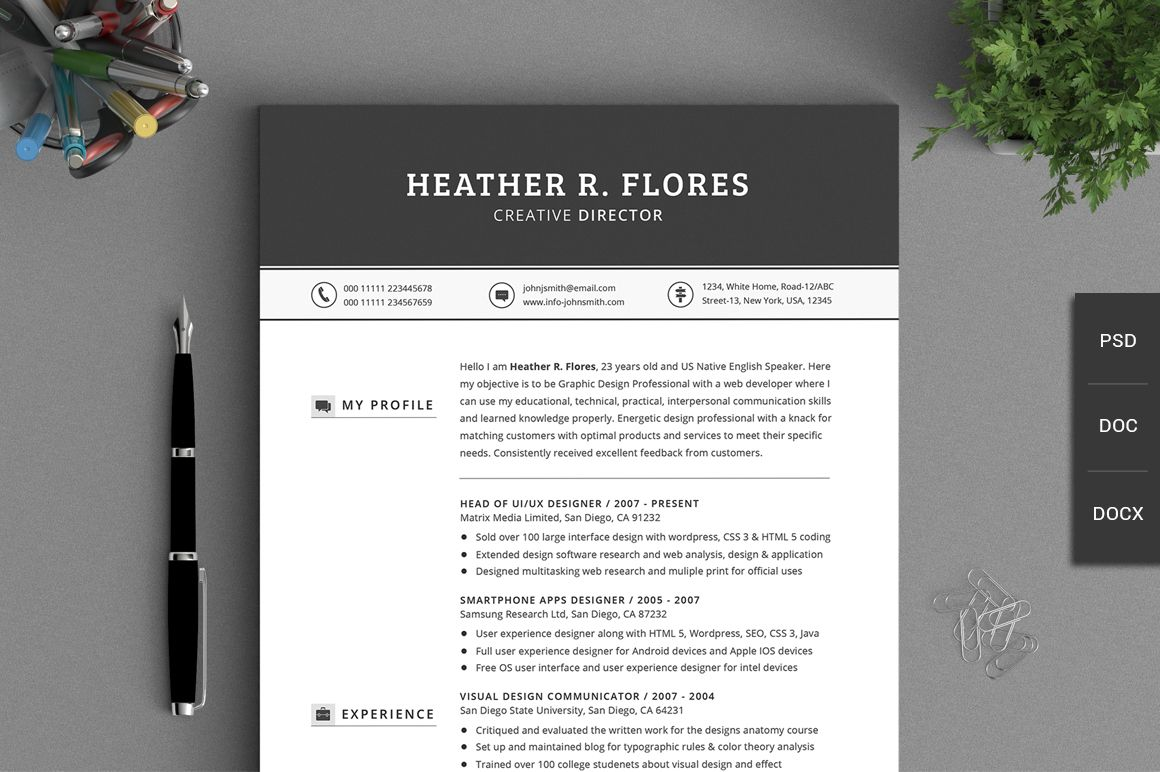 All in One Timeless Resume CV Pack | Resume cv, Creative and Set design