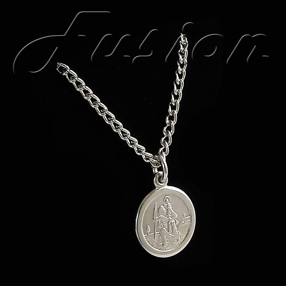 "St Christopher medal pendant silver plated snake chain 18/"" necklace"