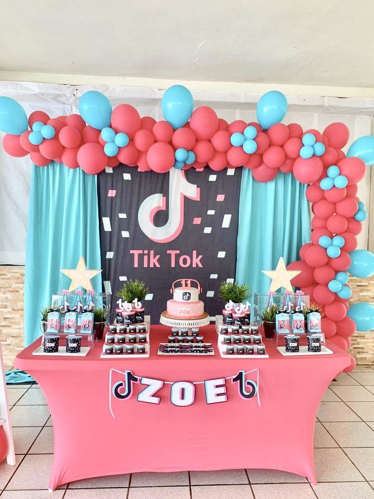 Tik Tok Birthday Party Ideas Photo 2 Of 10 Party Photo Booth Backdrop Birthday Surprise Party Birthday Party
