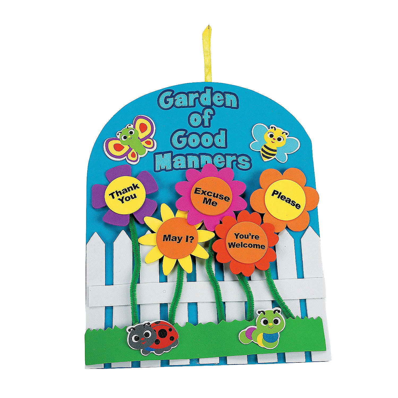 Craft kits for preschoolers -  Garden Of Good Manners Sign Craft Kit Orientaltrading Com