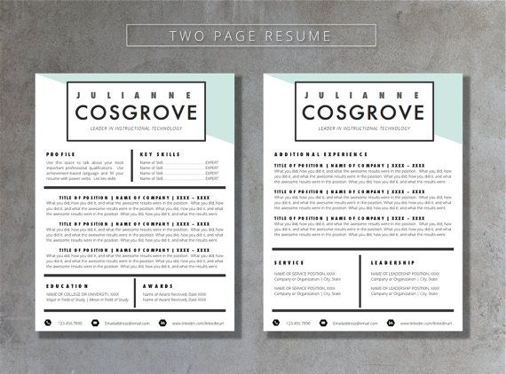 Resume Template Word Pages Compatible Cover By Theresumeshoppe