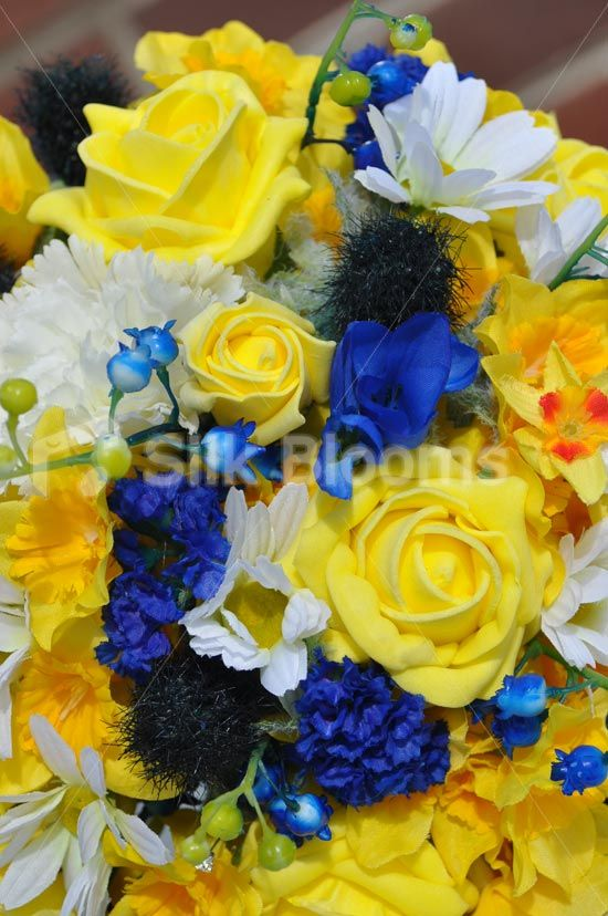 Summery Yellow Daffodil and Rose Bridal Bouquet w/ Blue Lily of the Valley, Thistles and Freesia