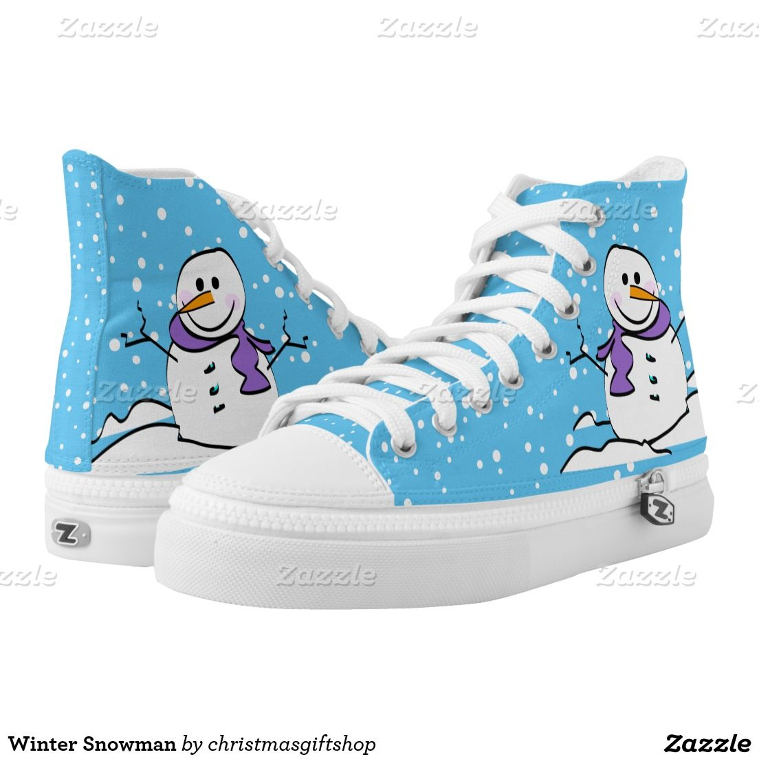 Cute Winter Snowman High-Top Sneakers | Zazzle.com (With ...