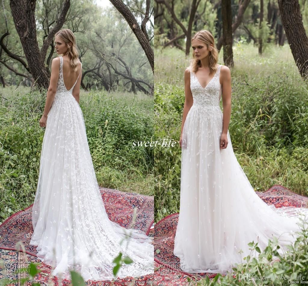 Romantic limor rosen 2017 sheath wedding dresses deep v for Plain wedding dresses with straps