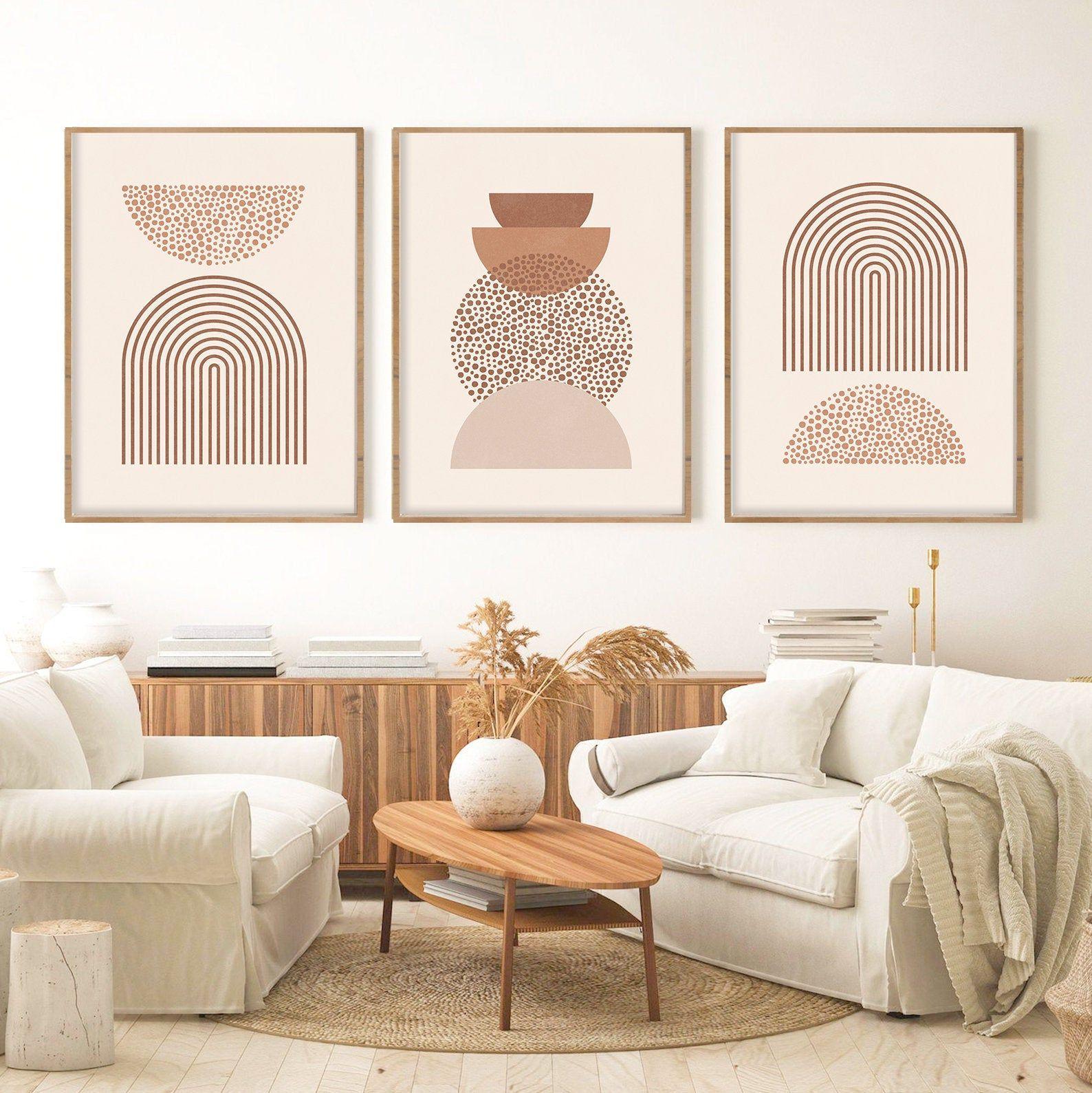 Abstract Art Set of 3 Boho Wall Prints Decor, Mid