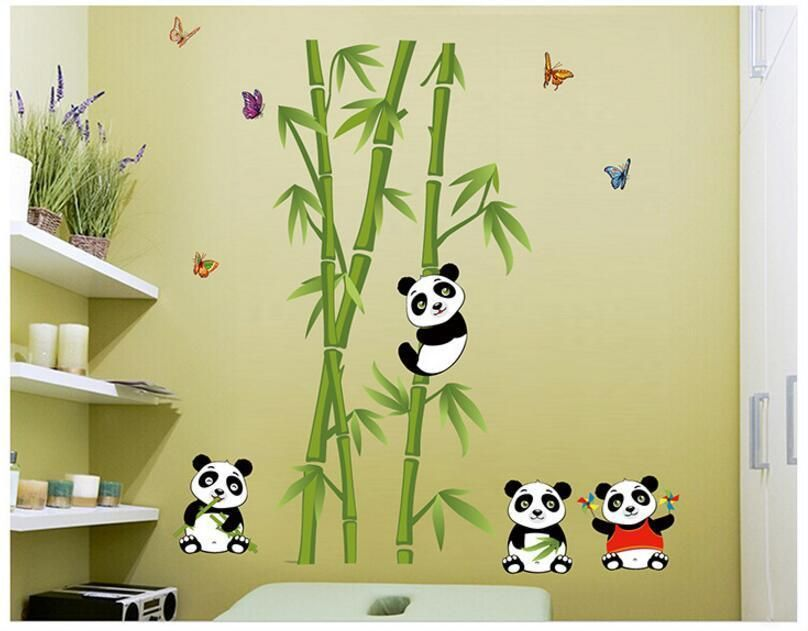 Details About Lovely Panda Bamboo Pattern Removable Wall Stickers