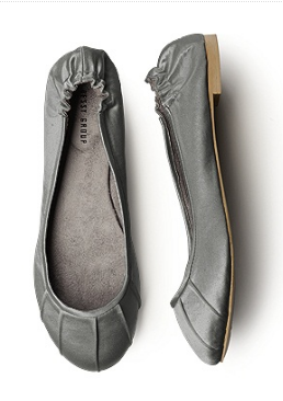 Dessy Charcoal Grey Satin Ballet Shoes - Bridal Ballet Flats and Slippers - Wedding Ballet Flats