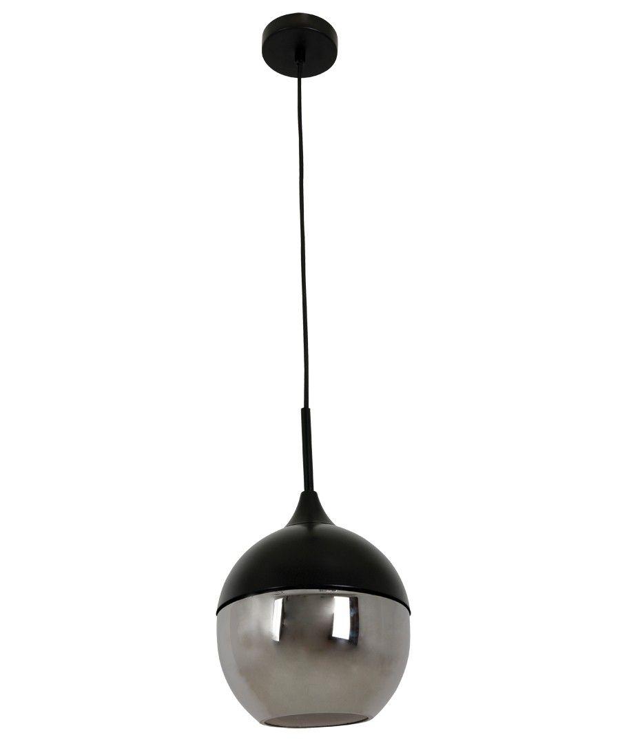 Lunar 1 Light Round Pendant In Black/Smoke