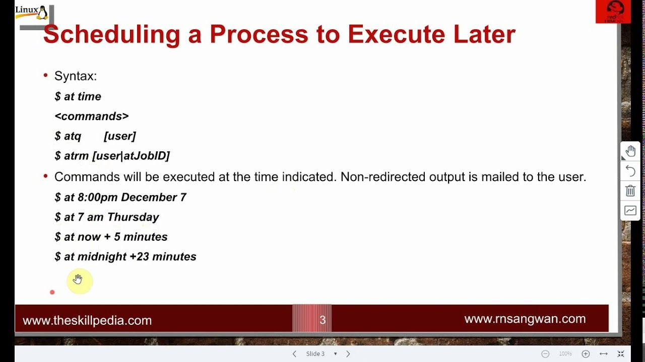 Linux 8 Job Scheduling With At And Cron Linux Tutorial Linux