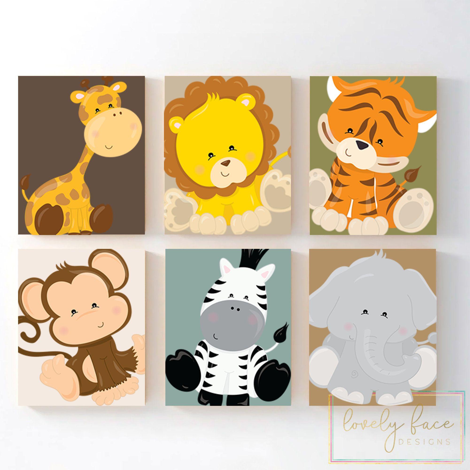 JUNGLE Theme Nursery Decor Zoo Animals Baby Boy Nursery Decor Set of 4 SAFARI ANIMALS Wall Art Canvas or Prints Playroom Wall Art