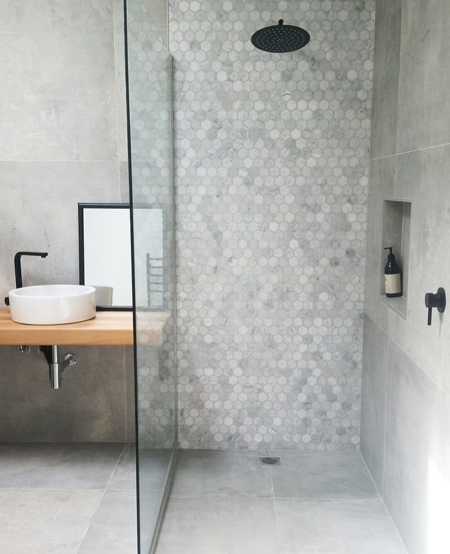 Carrara Hexagon Feature Contrasting With Soft Tone Tiles And Stressed Light Timber Vanity Small Bathroom Bathroom Design Small Concrete Tiles Bathroom