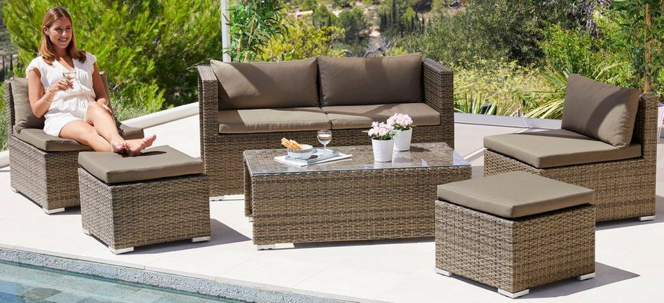 Merxx Loungeset Vigo 16 Tlg 2er Bank 2 Sessel 2 Hocker