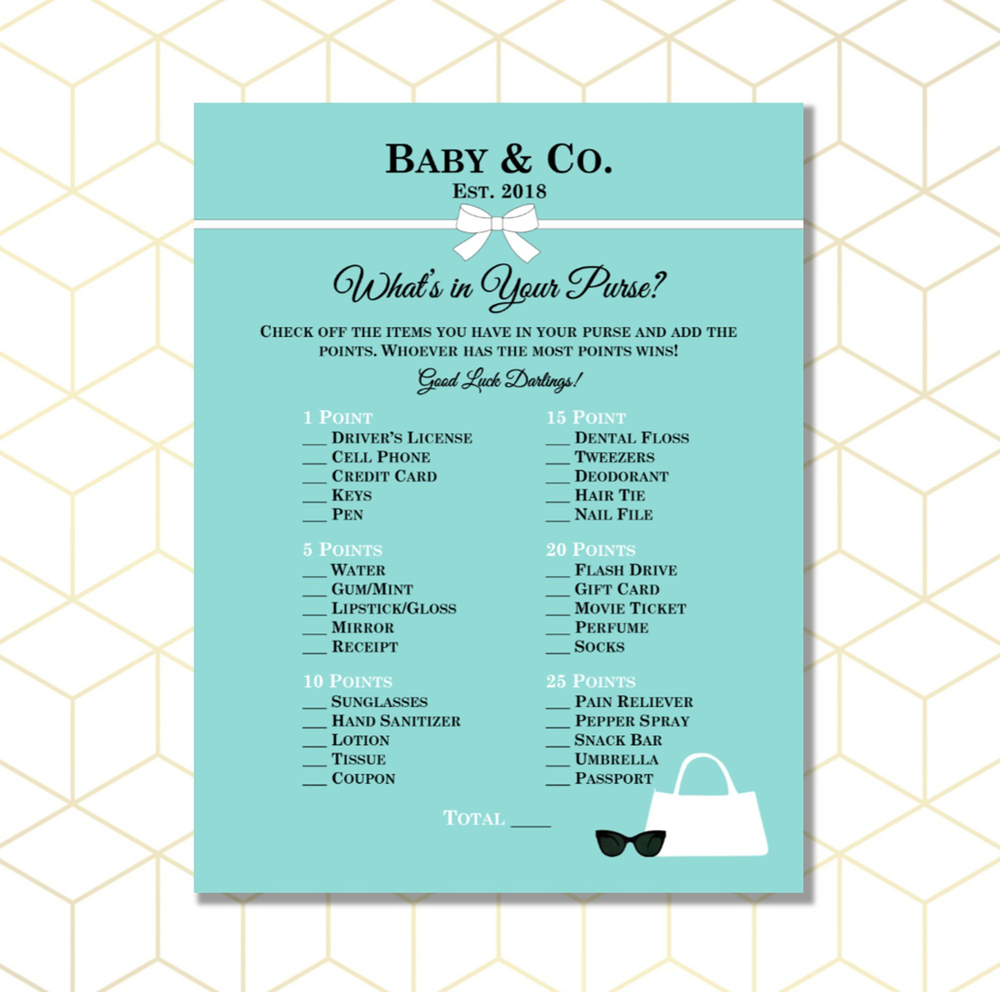 What S In Your Purse Baby Shower Game Breakfast At Tiffany S