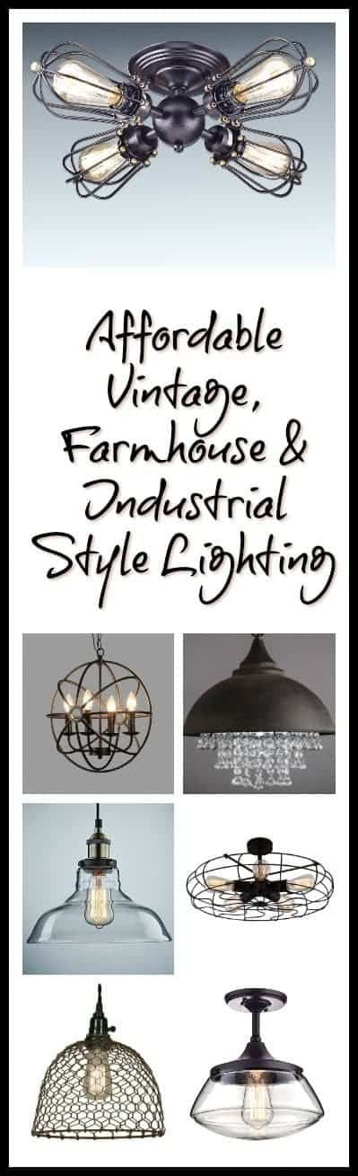 Photo of an array of vintage, farmhouse and industrial style lighting