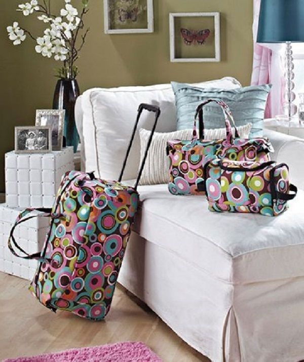 a80aaf883a23 3 Piece Luggage Set Rolling Kids Teens Travel Duffel Bag Tote Toiletry  Duffle  LSIHomeProducts