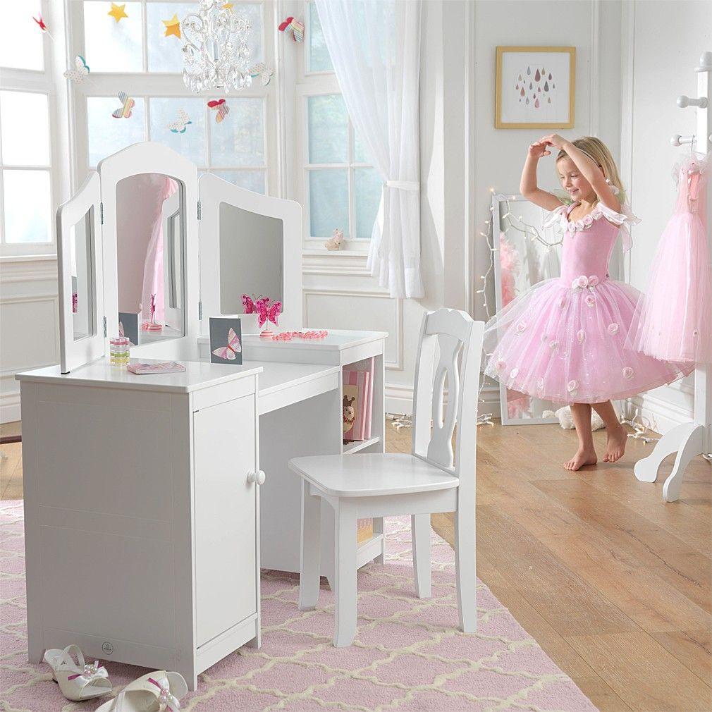 Girls Deluxe Wooden Vanity Unit / Dressing Table Vanity