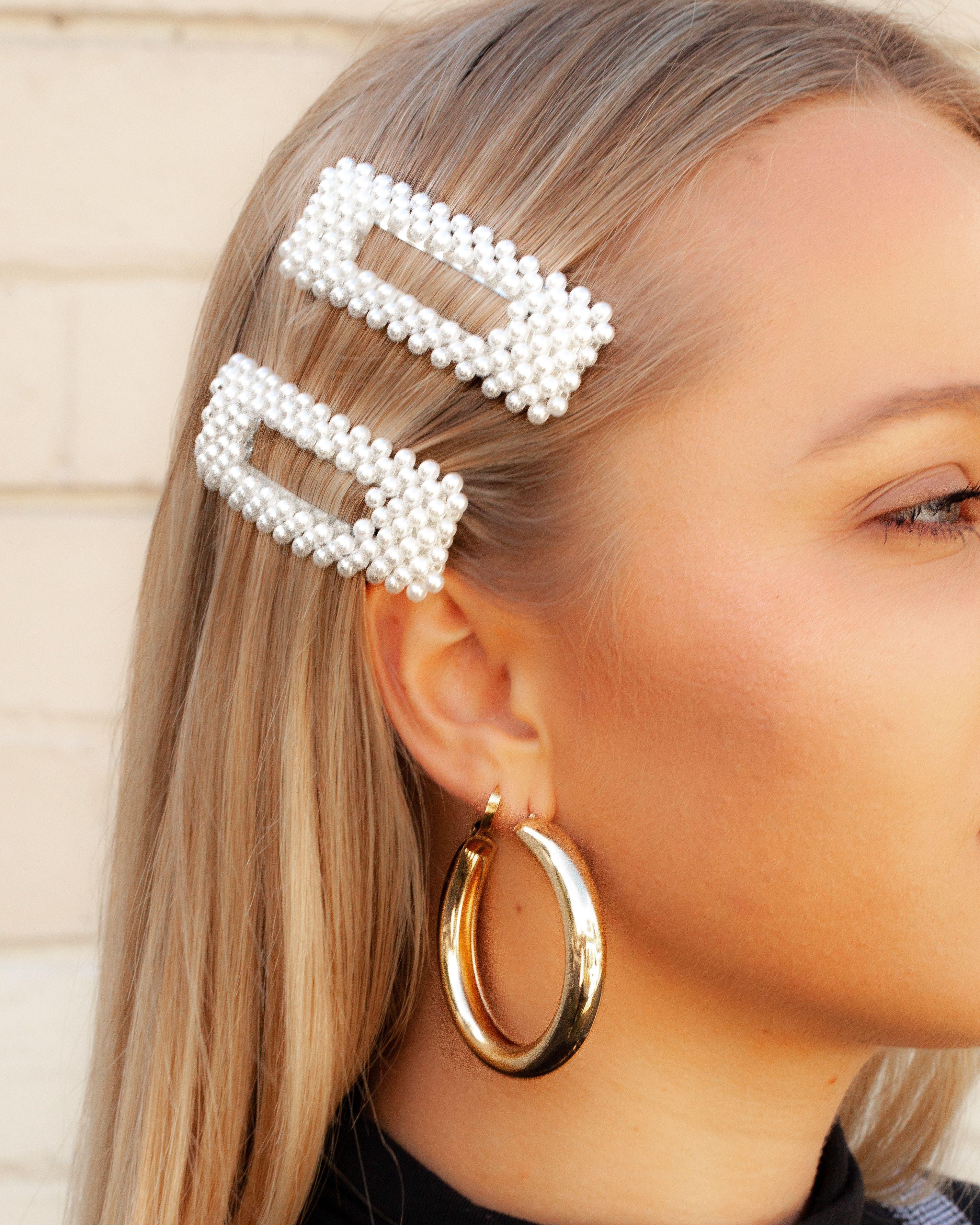 pearl rectangle hair clip | lovisa wedding hair australia