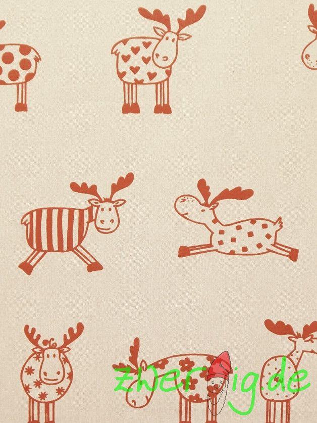 Weihnachtsstoffe - Dekostoff natur m. roten Elchen- Weihnachtsstoff ...