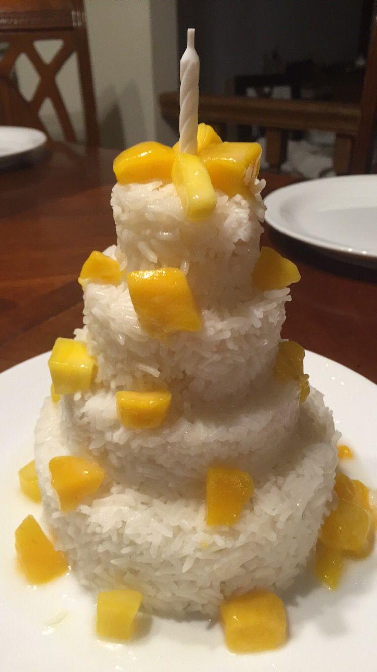 Groovy Coconut Sticky Rice And Mango Thai Birthday Cake Auntbobbybakes Birthday Cards Printable Giouspongecafe Filternl