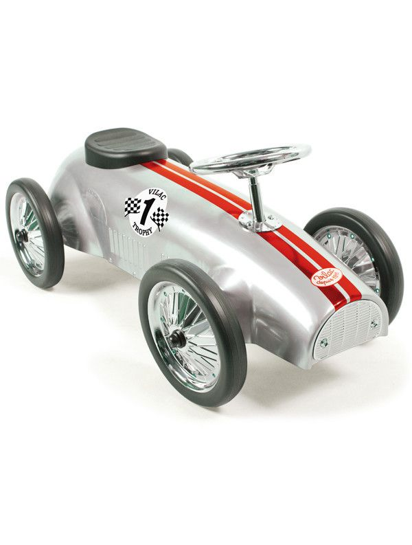 vilac metal ride on classic race car silver