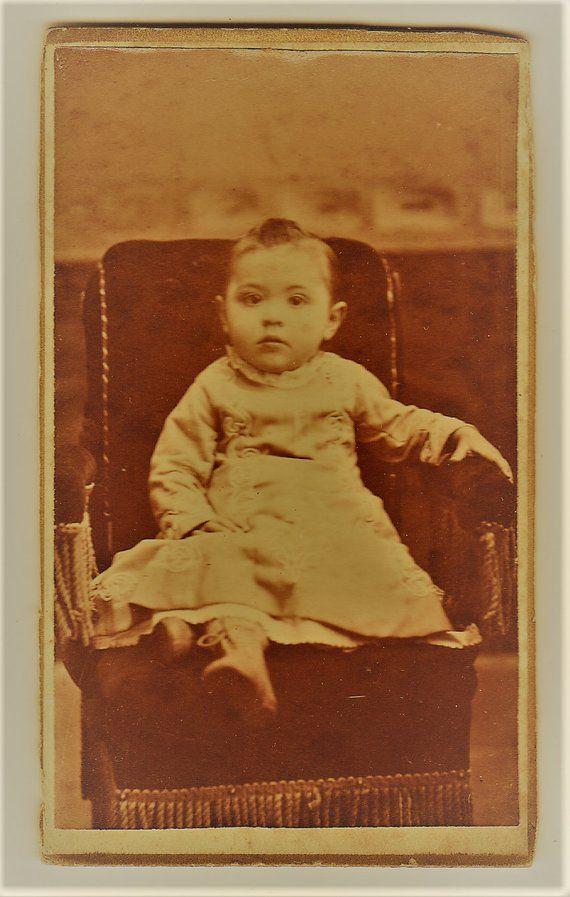 ON SALE Antique 1800s CDV Carte De Visite Photograph Of A Young Child Vintage Old Photo