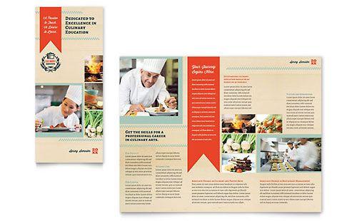 Culinary School Tri Fold Brochure Template  Brochures