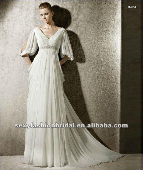 2012 New Arrival V Neck Ruffle Empire Short Sleeve Grecian