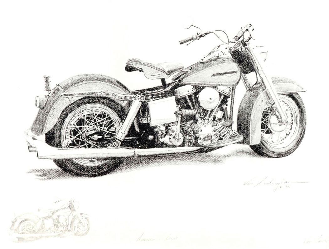 pencil drawing of 1965 harley panhead on watercolor paper titled  u0026quot american classic u0026quot  by jim van