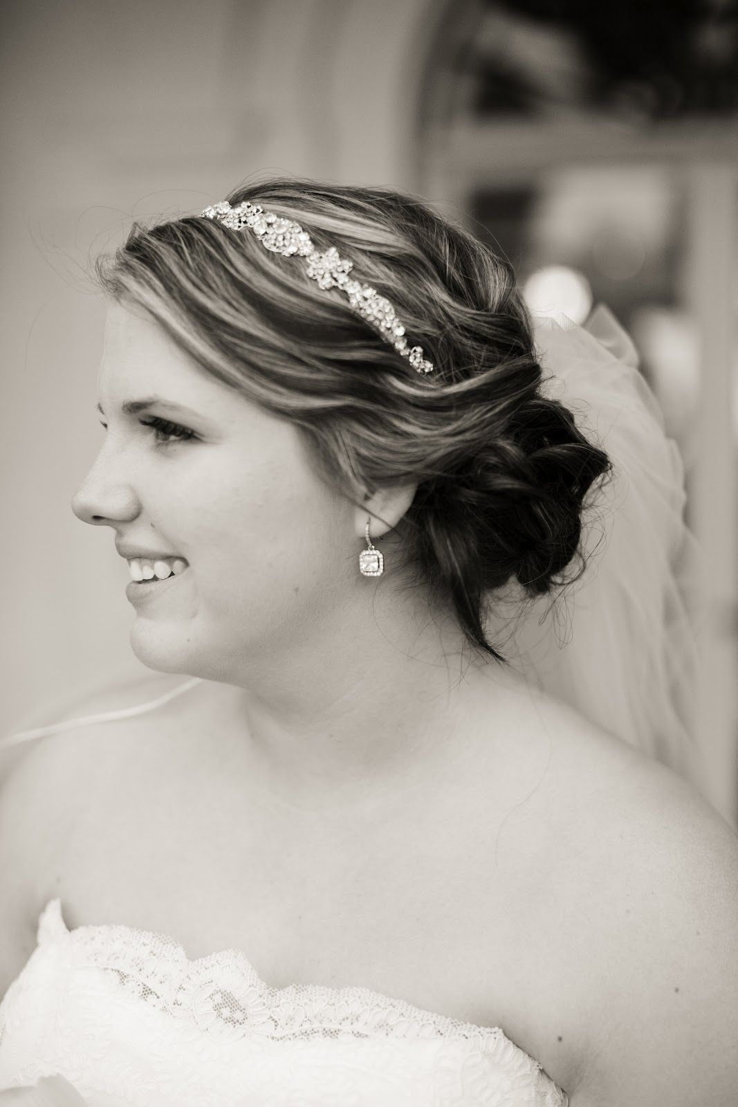 wedding hair - headband + veil + simple updo to the side