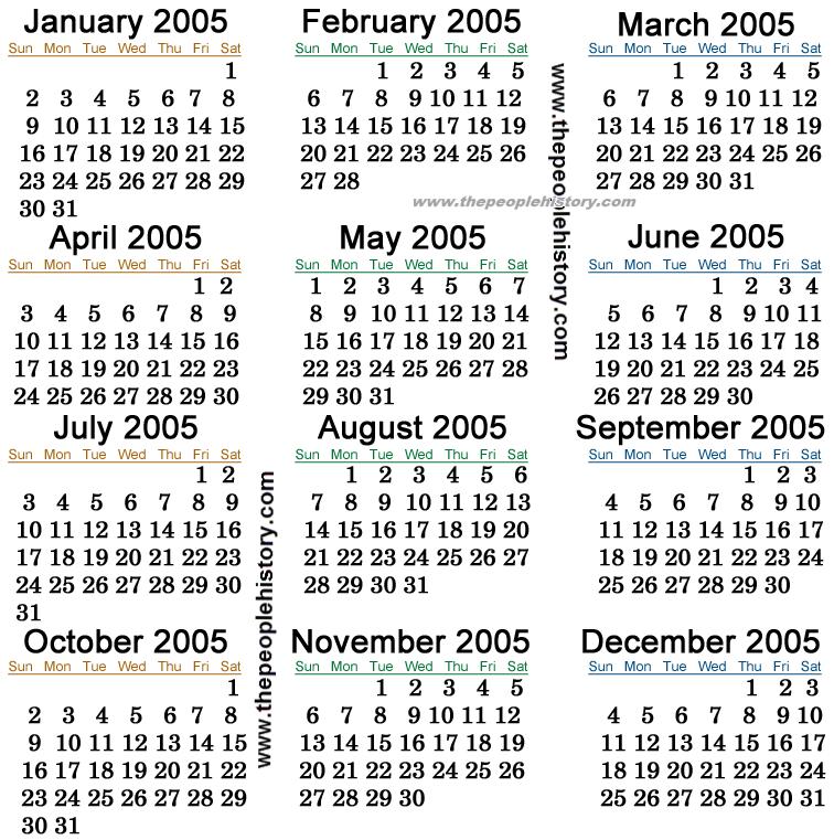 2005 kalender 2005 Calendar