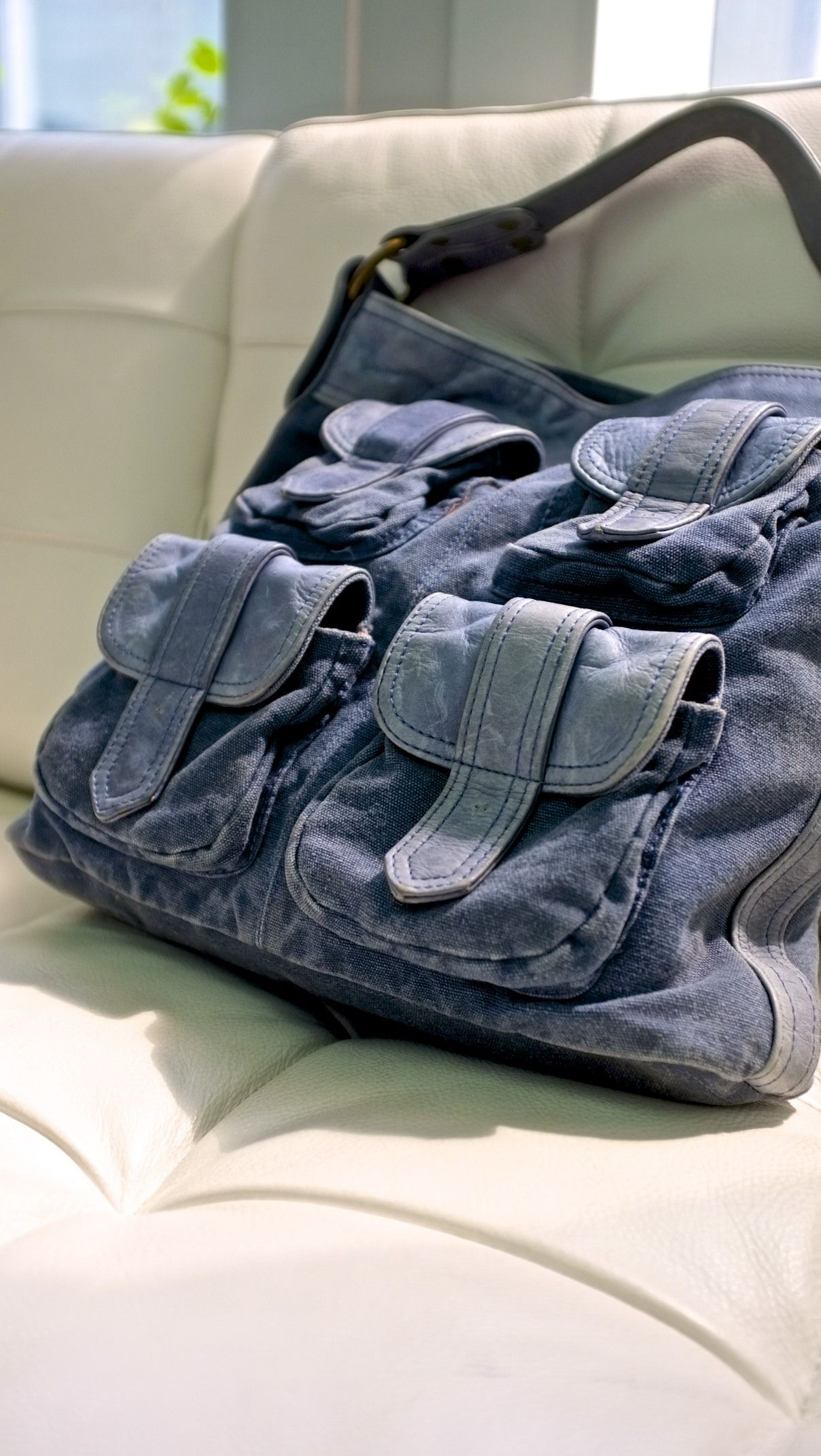 Canvas jeans and leather pocket.... at francsbourgeois.com